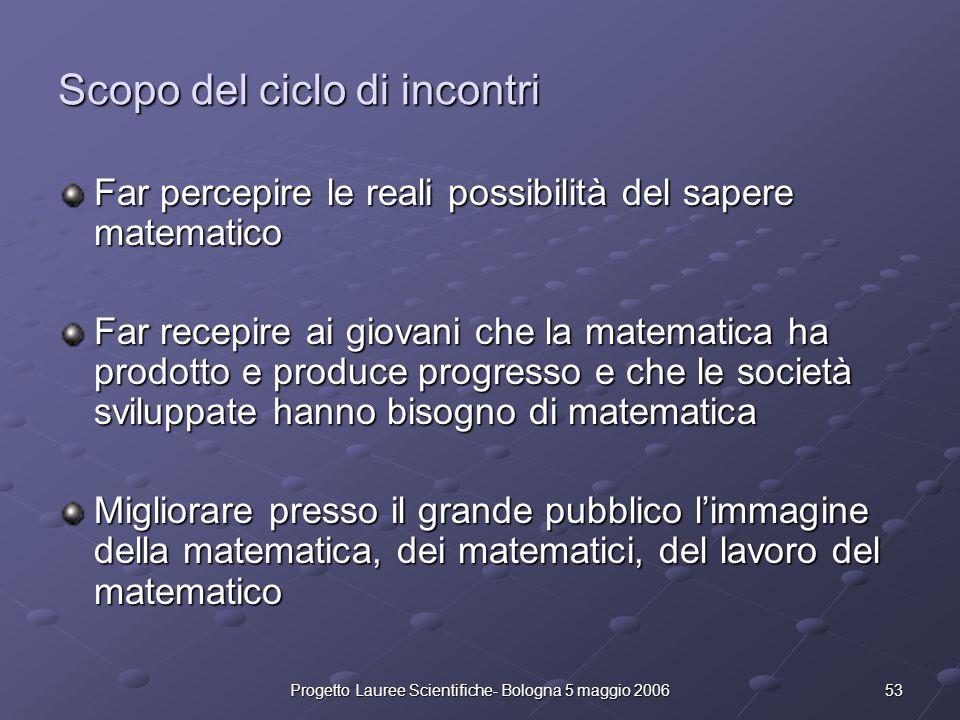 53Progetto Lauree Scientifiche- Bologna 5 maggio 2006 Scopo del ciclo di incontri Far percepire le reali possibilità del sapere matematico Far recepir