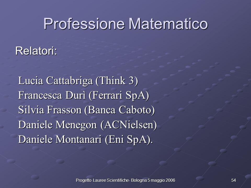 54Progetto Lauree Scientifiche- Bologna 5 maggio 2006 Professione Matematico Relatori: Lucia Cattabriga (Think 3) Lucia Cattabriga (Think 3) Francesca