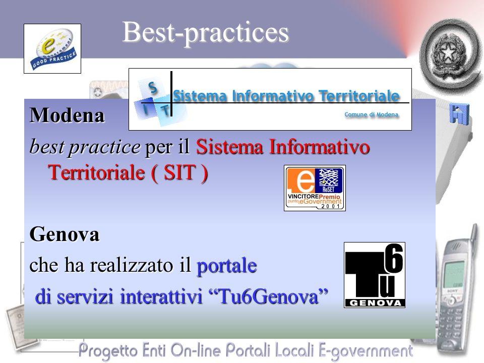 Best-practicesModena best practice per il Sistema Informativo Territoriale ( SIT ) Genova che ha realizzato il portale di servizi interattivi Tu6Genova di servizi interattivi Tu6Genova