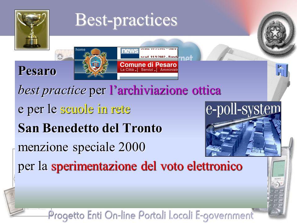 Best-practicesPesaro best practice per larchiviazione ottica e per le scuole in rete San Benedetto del Tronto menzione speciale 2000 per la sperimentazione del voto elettronico