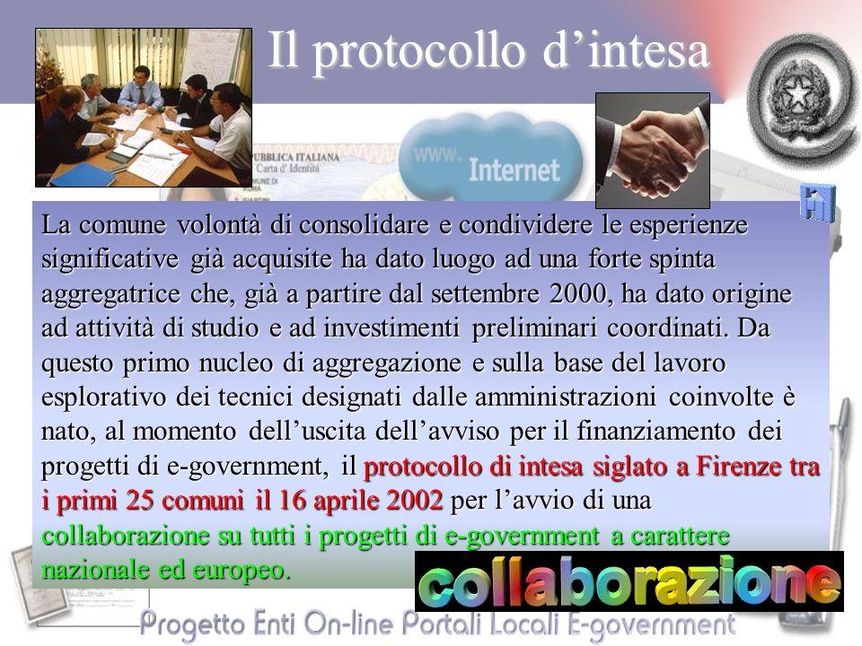 Il protocollo dintesa La comune volontà di consolidare e condividere le esperienze significative già acquisite ha dato luogo ad una forte spinta aggregatrice che, già a partire dal settembre 2000, ha dato origine ad attività di studio e ad investimenti preliminari coordinati.