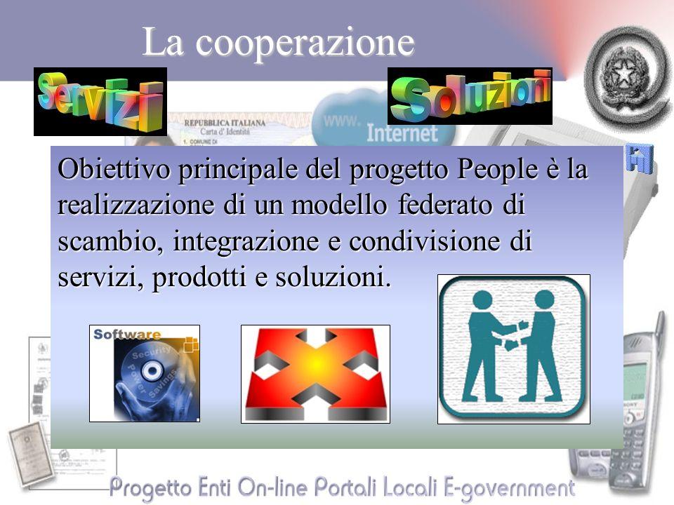 La cooperazione Obiettivo principale del progetto People è la realizzazione di un modello federato di scambio, integrazione e condivisione di servizi, prodotti e soluzioni.