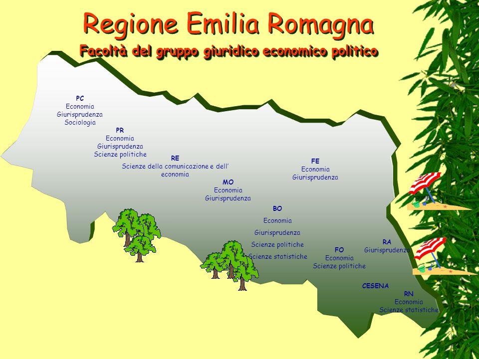 Regione Emilia Romagna PC Economia Giurisprudenza Sociologia PR Economia Giurisprudenza Scienze politiche RE Scienze della comunicazione e dell econom