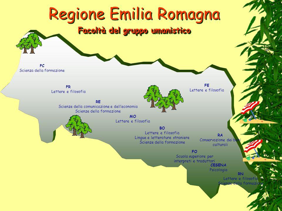 Regione Emilia Romagna PC Scienza della formazione PR Lettere e filosofia RE Scienze della comunicazione e delleconomia Scienze della formazione MO Le