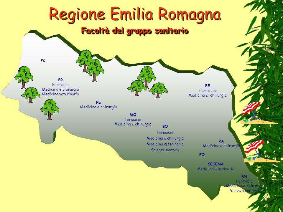 Regione Emilia Romagna PC PR Farmacia Medicina e chirurgia Medicina veterinaria RE Medicina e chirurgia MO Farmacia Medicina e chirurgia BO Farmacia M