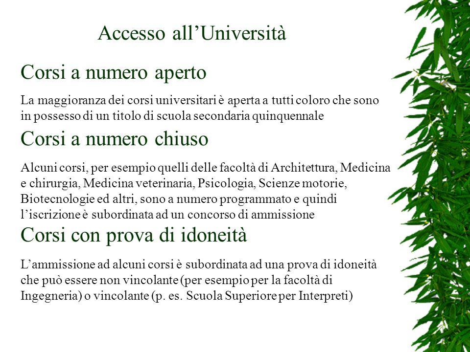 Accesso allUniversità Corsi a numero aperto La maggioranza dei corsi universitari è aperta a tutti coloro che sono in possesso di un titolo di scuola