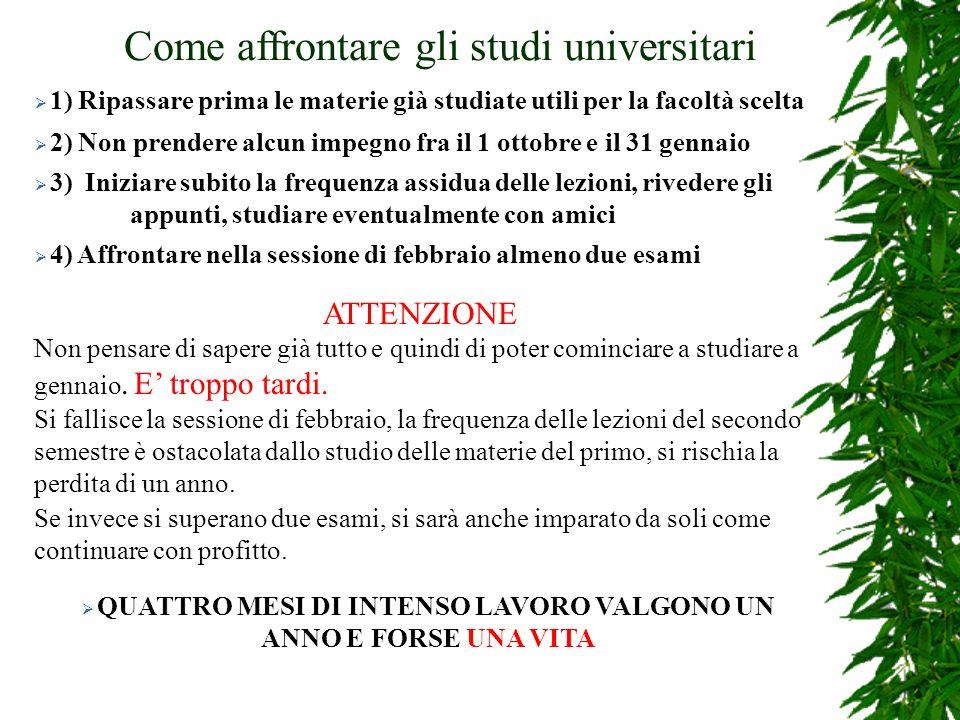 Come affrontare gli studi universitari 1) Ripassare prima le materie già studiate utili per la facoltà scelta 2) Non prendere alcun impegno fra il 1 o