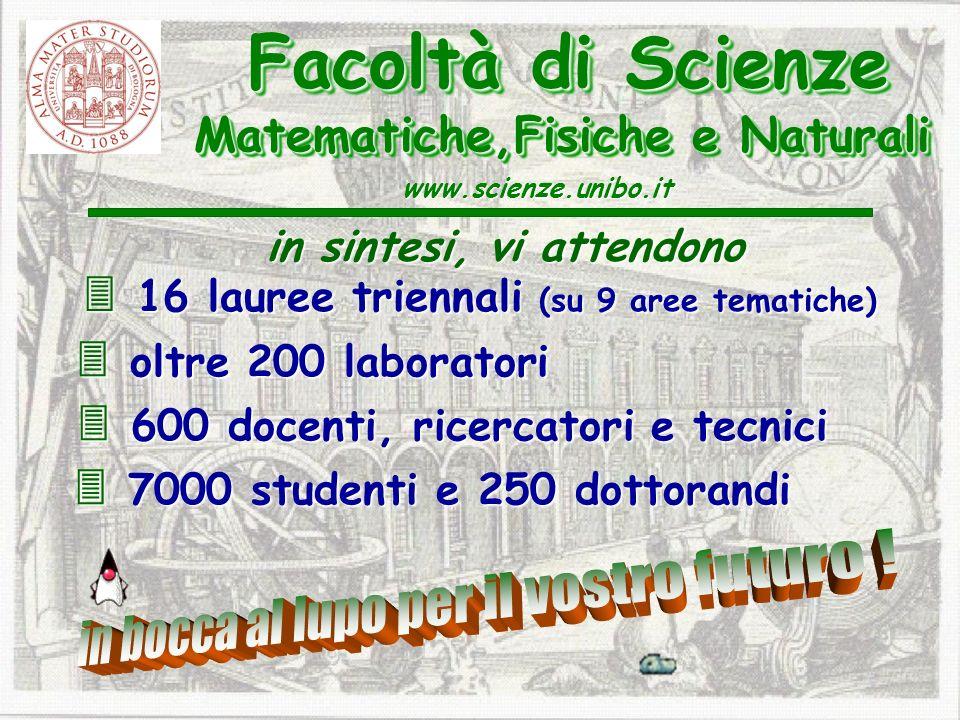 600 docenti, ricercatori e tecnici 600 docenti, ricercatori e tecnici Facoltà di Scienze Matematiche,Fisiche e Naturali Facoltà di Scienze Matematiche,Fisiche e Naturali www.scienze.unibo.it 7000 studenti e 250 dottorandi 7000 studenti e 250 dottorandi oltre 200 laboratori oltre 200 laboratori in sintesi, vi attendono 16 lauree triennali (su 9 aree tematiche) 16 lauree triennali (su 9 aree tematiche)