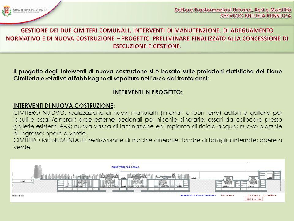 Il progetto degli interventi di nuova costruzione si è basato sulle proiezioni statistiche del Piano Cimiteriale relative al fabbisogno di sepolture n
