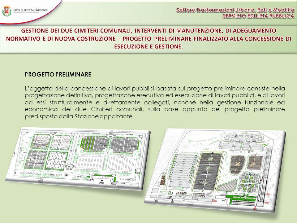 PROGETTO PRELIMINARE Loggetto della concessione di lavori pubblici basata sul progetto preliminare consiste nella progettazione definitiva, progettazi