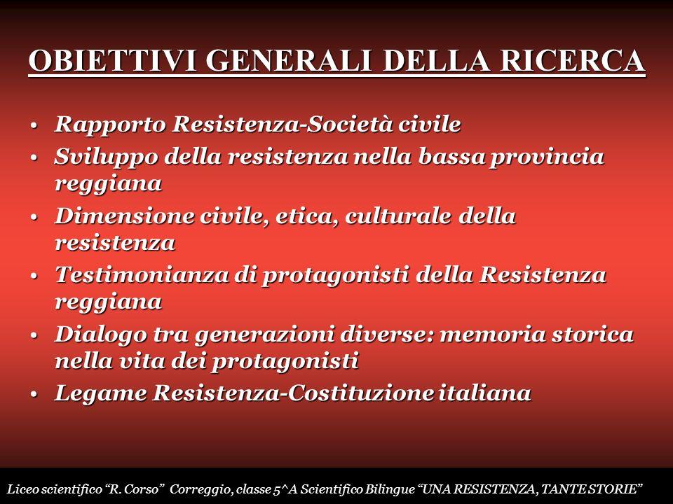 OBIETTIVI GENERALI DELLA RICERCA Rapporto Resistenza-Società civileRapporto Resistenza-Società civile Sviluppo della resistenza nella bassa provincia