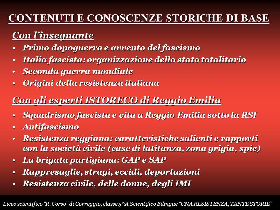 CONTENUTI E CONOSCENZE STORICHE DI BASE Con linsegnante Primo dopoguerra e avvento del fascismoPrimo dopoguerra e avvento del fascismo Italia fascista