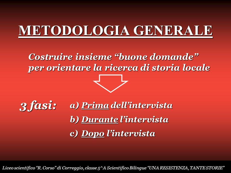 METODOLOGIA GENERALE Costruire insieme buone domande per orientare la ricerca di storia locale a)Prima a)Prima dellintervista b)Durante b)Durante lint