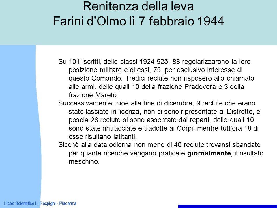 Renitenza della leva Farini dOlmo lì 7 febbraio 1944 Su 101 iscritti, delle classi 1924-925, 88 regolarizzarono la loro posizione militare e di essi, 75, per esclusivo interesse di questo Comando.
