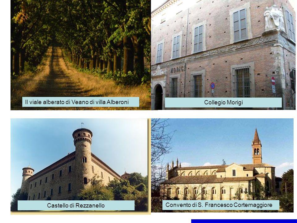 Il viale alberato di Veano di villa Alberoni Collegio Morigi Castello di Rezzanello Convento di S.