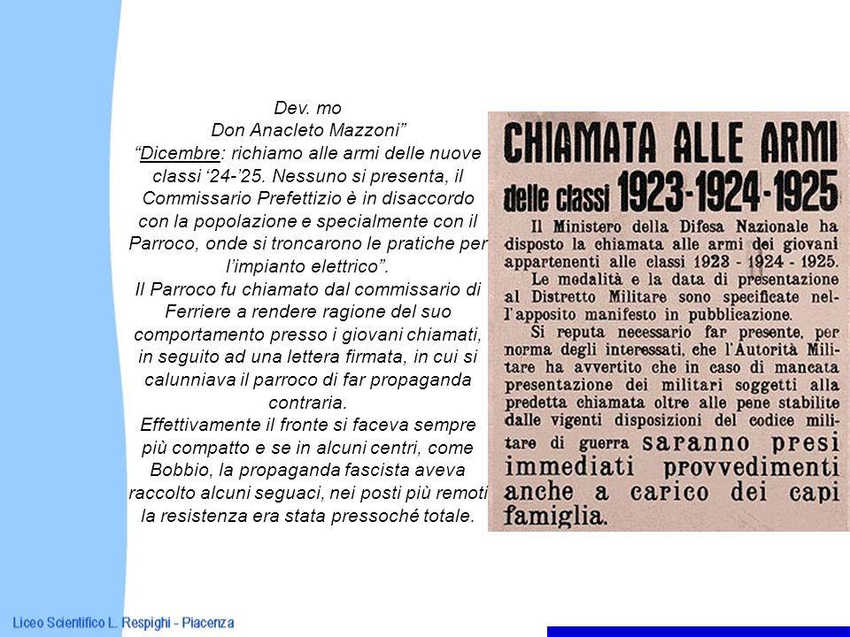 Dev. mo Don Anacleto Mazzoni Dicembre: richiamo alle armi delle nuove classi 24-25. Nessuno si presenta, il Commissario Prefettizio è in disaccordo co