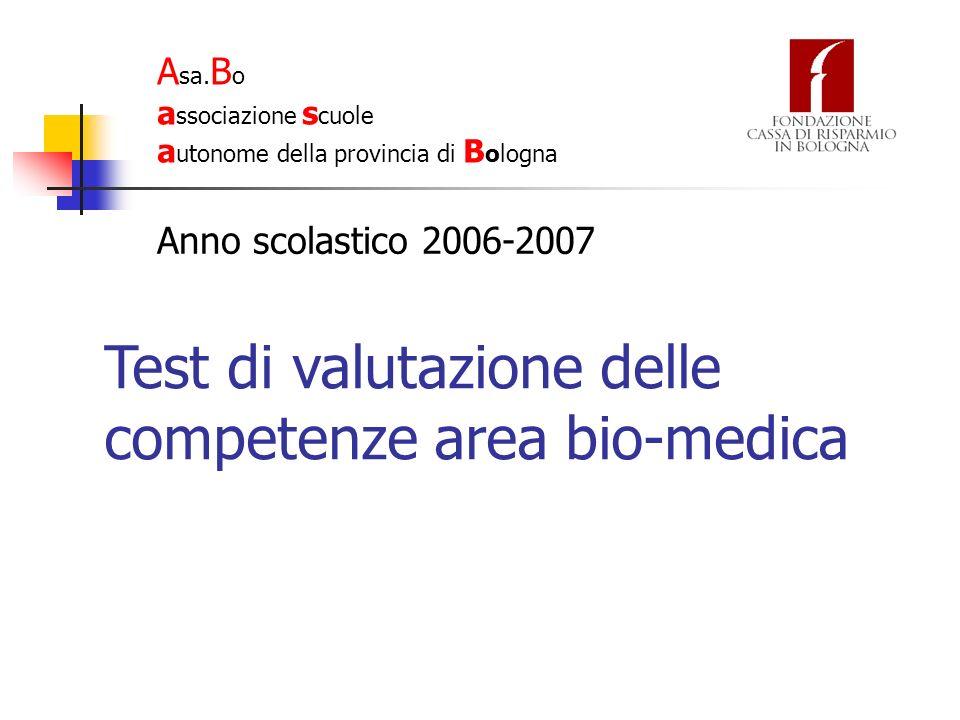 Test di valutazione delle competenze area bio-medica Il test ha visto la partecipazione di 221 studenti provenienti da 10 scuole di Bologna e provincia.