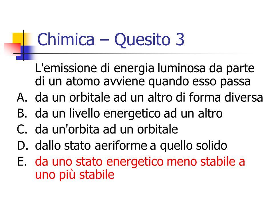 Chimica – Quesito 3 L'emissione di energia luminosa da parte di un atomo avviene quando esso passa A.da un orbitale ad un altro di forma diversa B.da