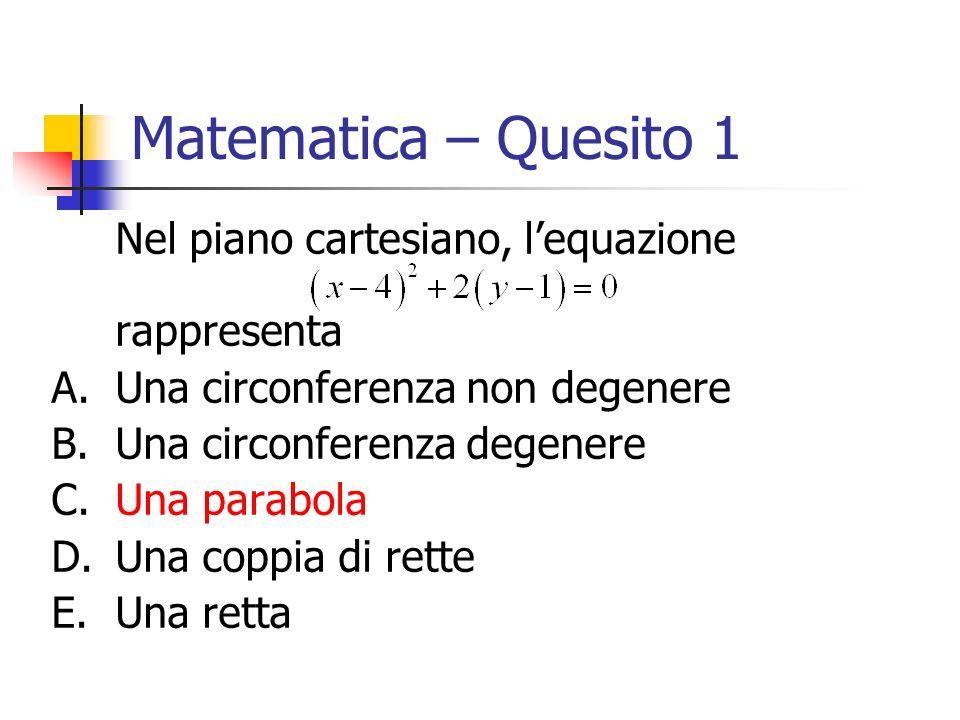 Matematica – Quesito 1 Nel piano cartesiano, lequazione rappresenta A.Una circonferenza non degenere B.Una circonferenza degenere C.Una parabola D.Una