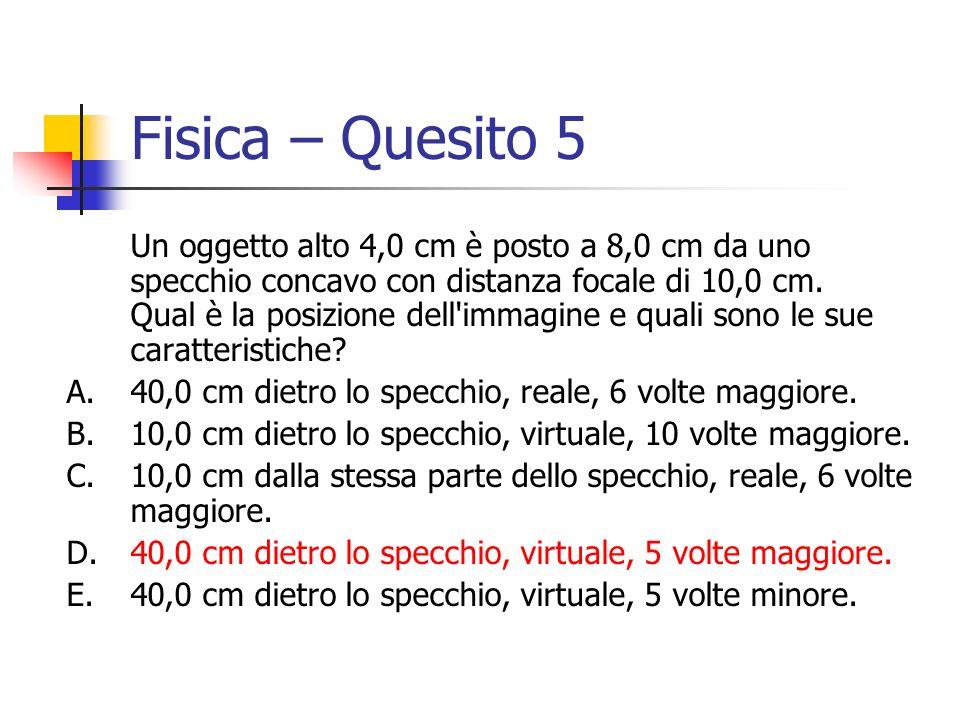 Fisica – Quesito 5 Un oggetto alto 4,0 cm è posto a 8,0 cm da uno specchio concavo con distanza focale di 10,0 cm. Qual è la posizione dell'immagine e