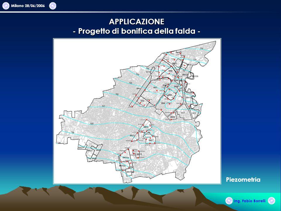 Milano 28/06/2006 APPLICAZIONE - Progetto di bonifica della falda - Ing. Fabio Borrelli Piezometria