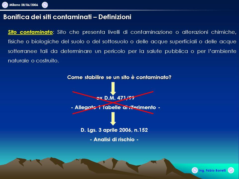 Milano 28/06/2006 Ing. Fabio Borrelli Sito contaminato : Sito che presenta livelli di contaminazione o alterazioni chimiche, fisiche o biologiche del