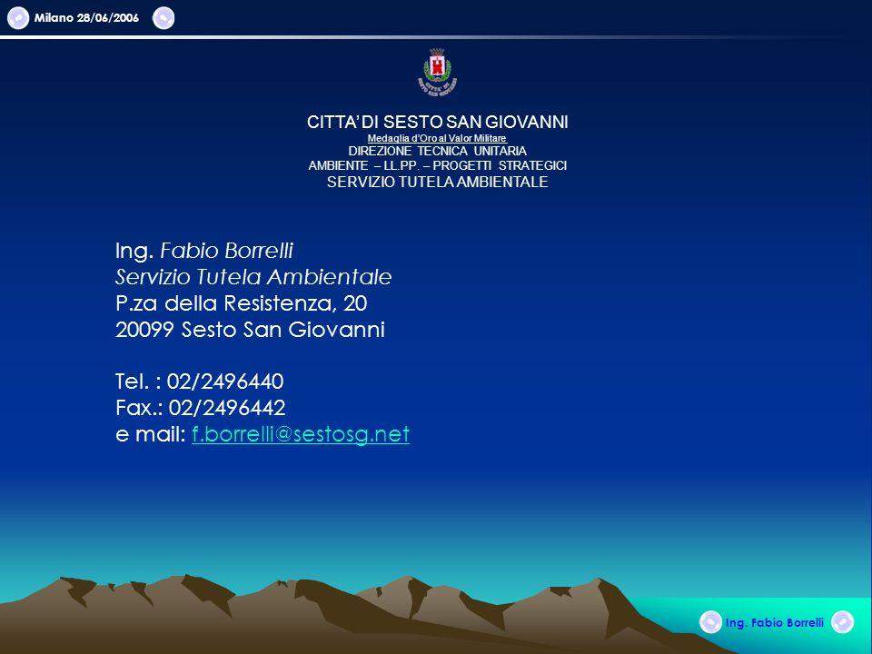 Milano 28/06/2006 Ing. Fabio Borrelli CITTA DI SESTO SAN GIOVANNI Medaglia dOro al Valor Militare DIREZIONE TECNICA UNITARIA AMBIENTE – LL.PP. – PROGE