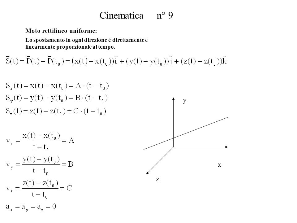 Cinematica n° 9 x y z Moto rettilineo uniforme: Lo spostamento in ogni direzione è direttamente e linearmente proporzionale al tempo.