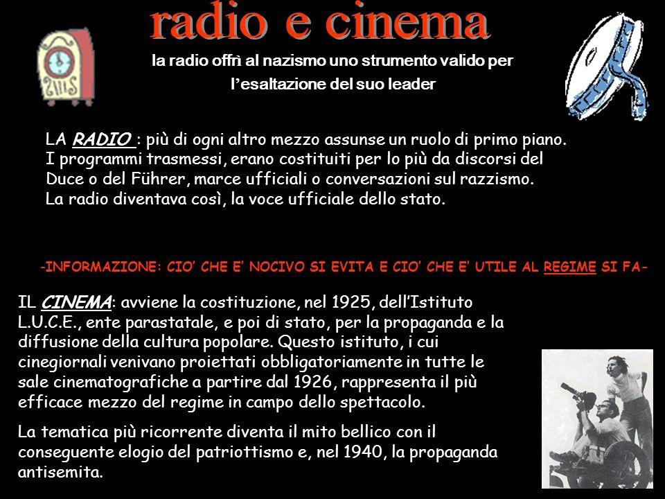 LA RADIO : più di ogni altro mezzo assunse un ruolo di primo piano. I programmi trasmessi, erano costituiti per lo più da discorsi del Duce o del Führ