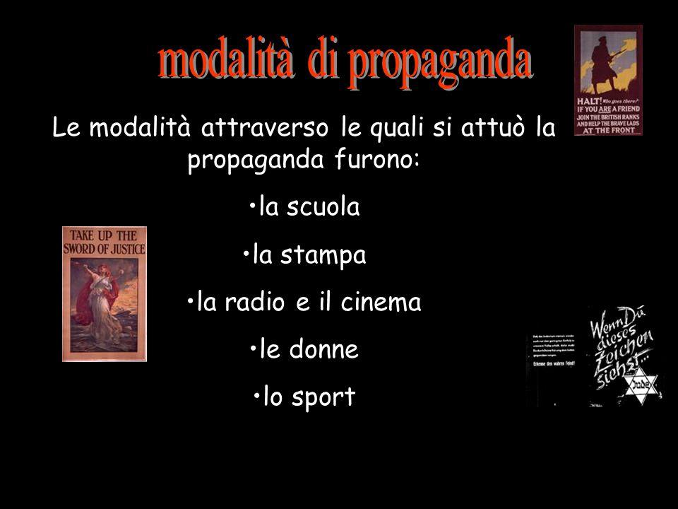 Le modalità attraverso le quali si attuò la propaganda furono: la scuola la stampa la radio e il cinema le donne lo sport