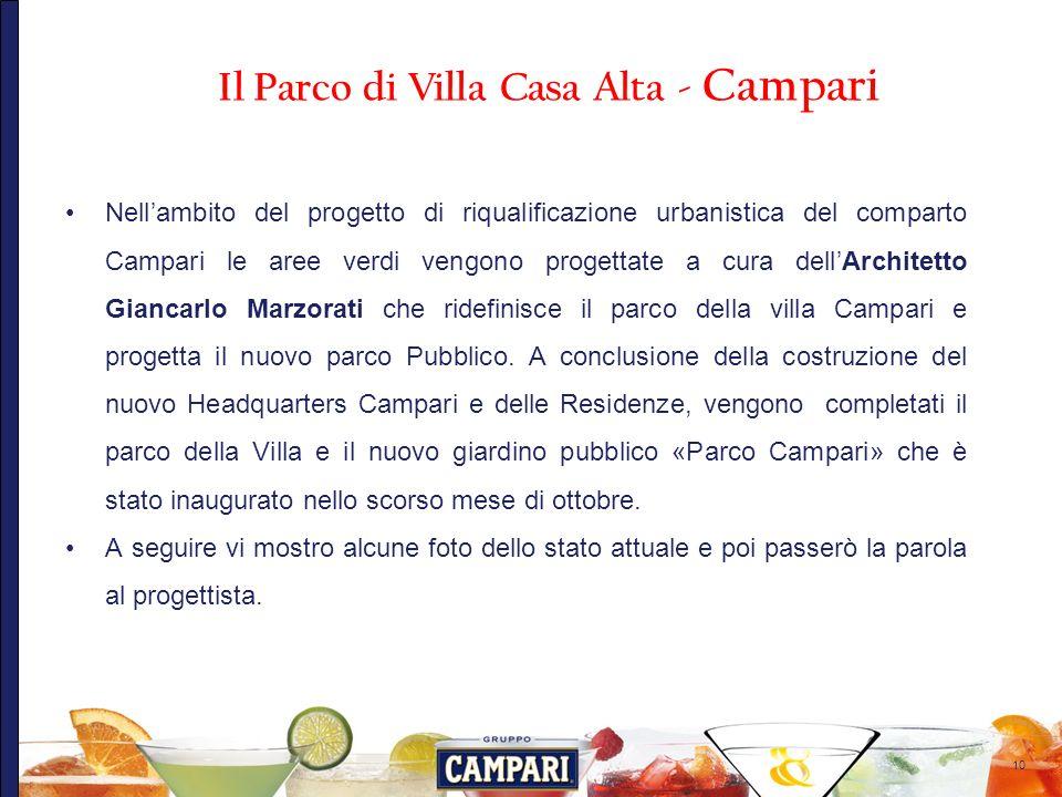 10 Nellambito del progetto di riqualificazione urbanistica del comparto Campari le aree verdi vengono progettate a cura dellArchitetto Giancarlo Marzo