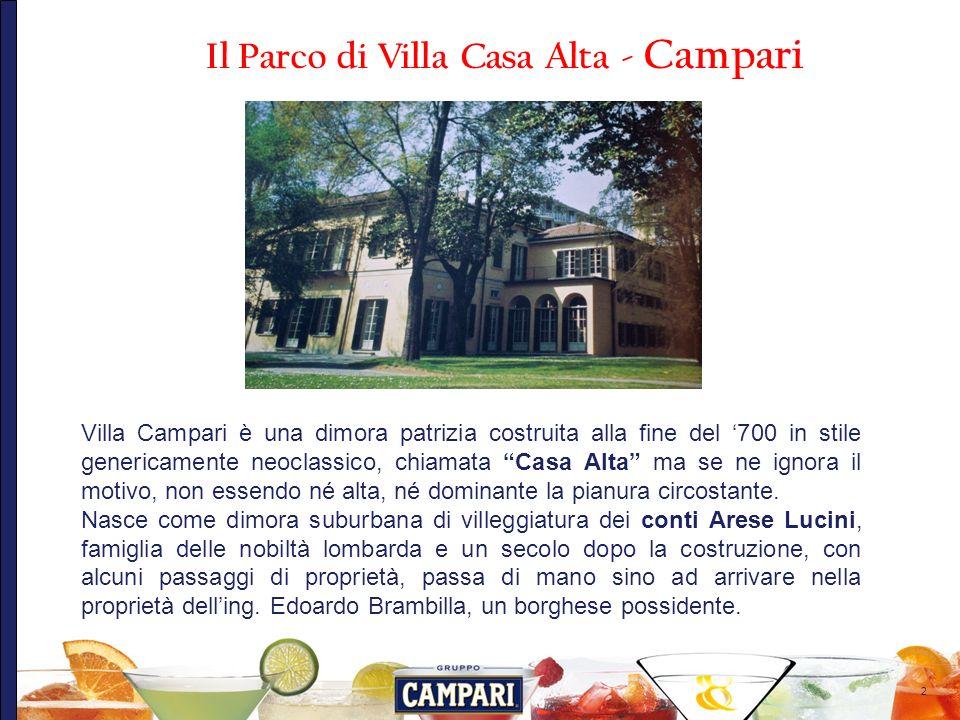 3 Agli inizi del 900 i fratelli Davide e Guido Campari individuano nella Villa Casa Alta e nel parco che la circonda il luogo adatto ad erigervi un nuovo stabilimento per la produzione dei loro liquori, con macchinari moderni, per sostituire i locali di via Galilei in Milano, divenuti insufficienti.