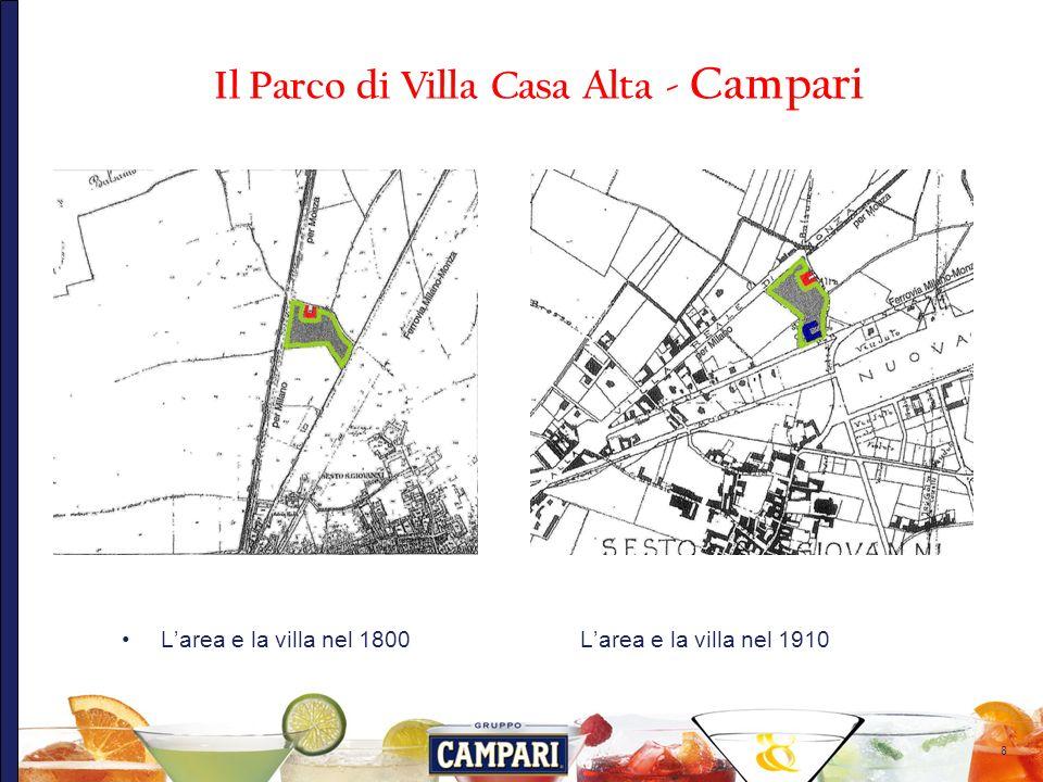 8 Larea e la villa nel 1800 Larea e la villa nel 1910 Il Parco di Villa Casa Alta - Campari