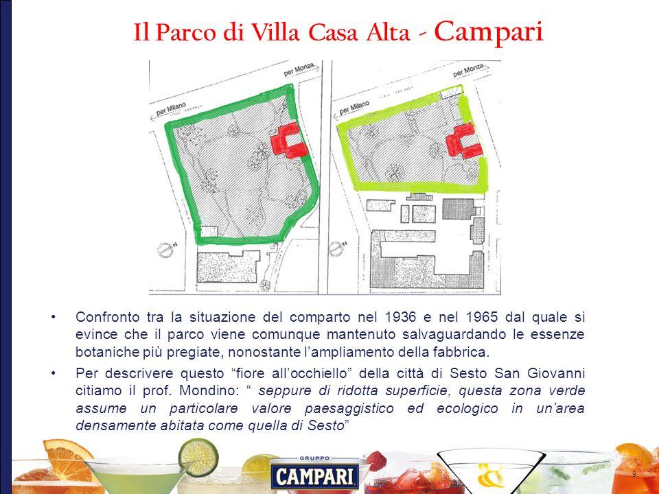 10 Nellambito del progetto di riqualificazione urbanistica del comparto Campari le aree verdi vengono progettate a cura dellArchitetto Giancarlo Marzorati che ridefinisce il parco della villa Campari e progetta il nuovo parco Pubblico.