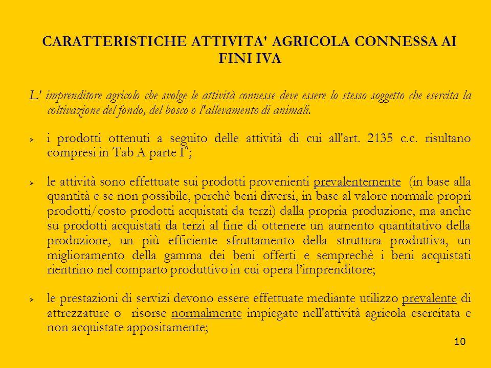 10 CARATTERISTICHE ATTIVITA' AGRICOLA CONNESSA AI FINI IVA L' imprenditore agricolo che svolge le attività connesse deve essere lo stesso soggetto che
