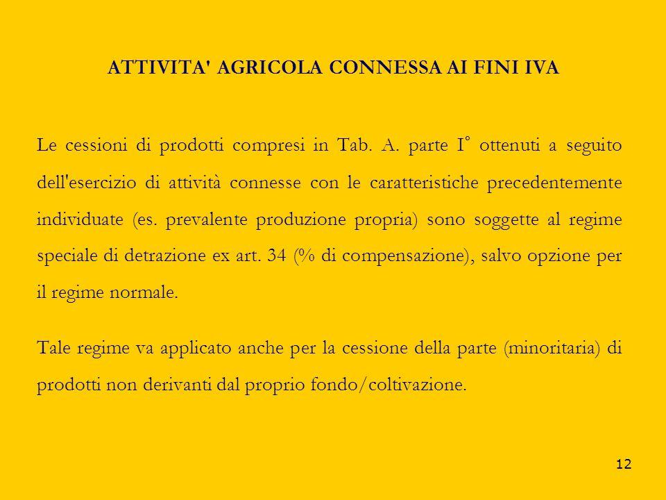 12 ATTIVITA' AGRICOLA CONNESSA AI FINI IVA Le cessioni di prodotti compresi in Tab. A. parte I° ottenuti a seguito dell'esercizio di attività connesse