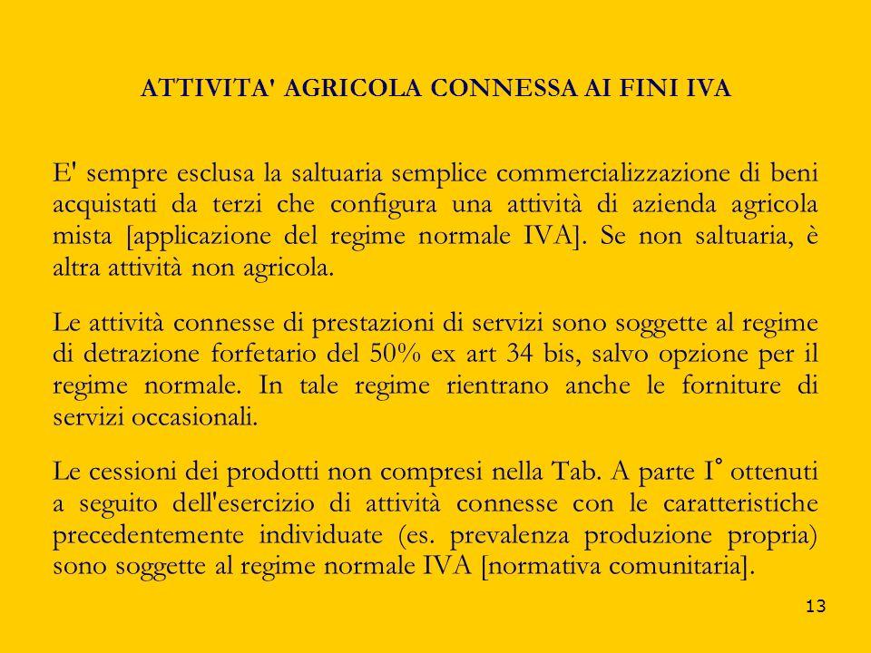 13 ATTIVITA' AGRICOLA CONNESSA AI FINI IVA E' sempre esclusa la saltuaria semplice commercializzazione di beni acquistati da terzi che configura una a