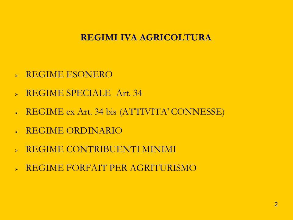 2 REGIMI IVA AGRICOLTURA REGIME ESONERO REGIME SPECIALE Art. 34 REGIME ex Art. 34 bis (ATTIVITA' CONNESSE) REGIME ORDINARIO REGIME CONTRIBUENTI MINIMI