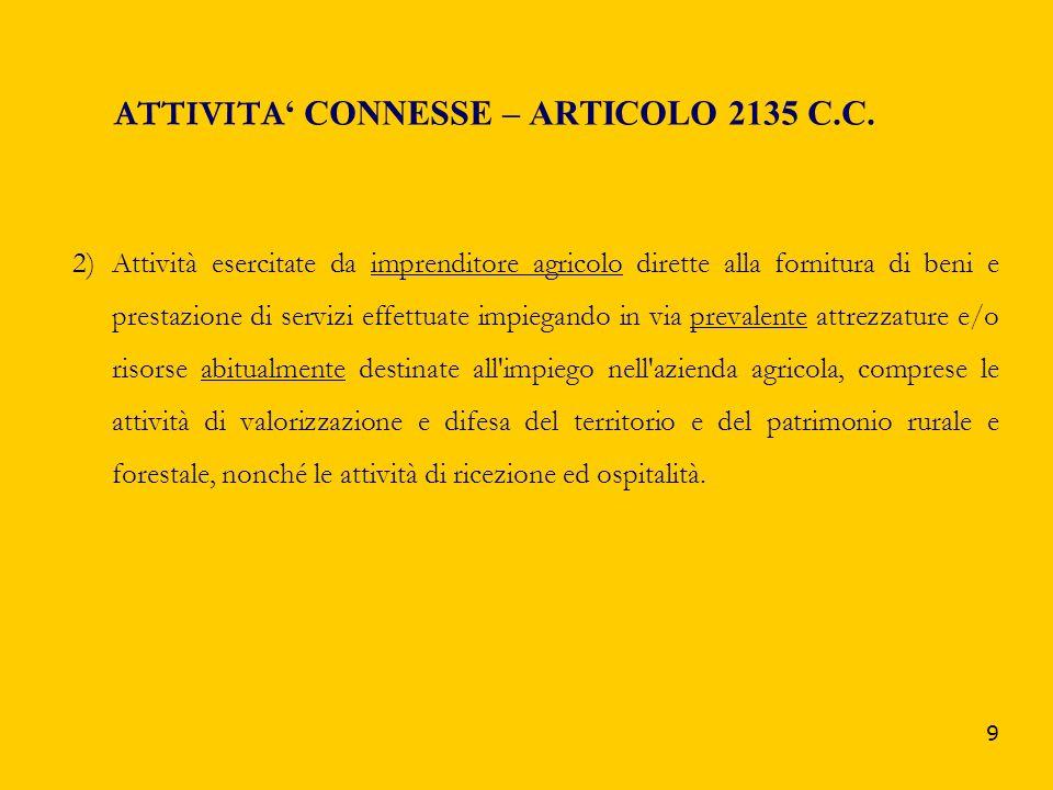 9 ATTIVITA CONNESSE – ARTICOLO 2135 C.C. 2)Attività esercitate da imprenditore agricolo dirette alla fornitura di beni e prestazione di servizi effett