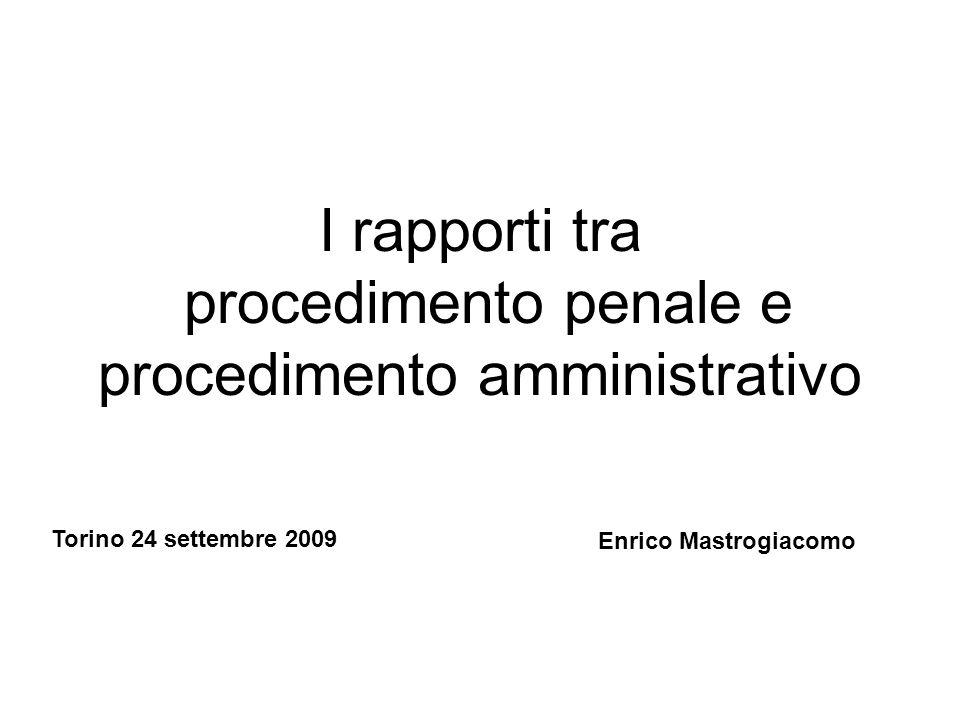 1 I rapporti tra procedimento penale e procedimento amministrativo Enrico Mastrogiacomo Torino 24 settembre 2009
