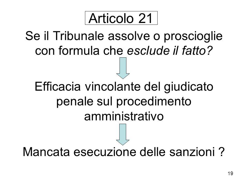 19 Se il Tribunale assolve o proscioglie con formula che esclude il fatto? Efficacia vincolante del giudicato penale sul procedimento amministrativo M