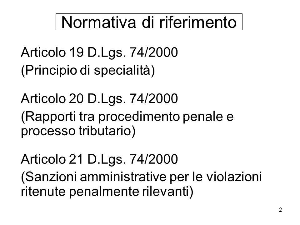 2 Normativa di riferimento Articolo 19 D.Lgs. 74/2000 (Principio di specialità) Articolo 20 D.Lgs. 74/2000 (Rapporti tra procedimento penale e process