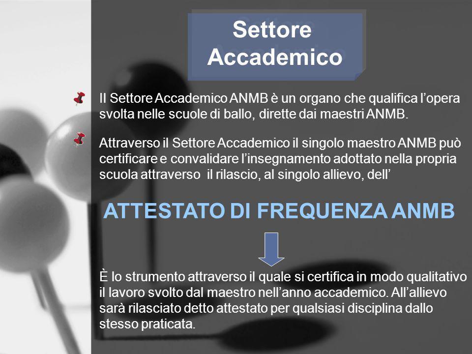 Settore Accademico Settore Accademico Il Settore Accademico ANMB è un organo che qualifica lopera svolta nelle scuole di ballo, dirette dai maestri AN
