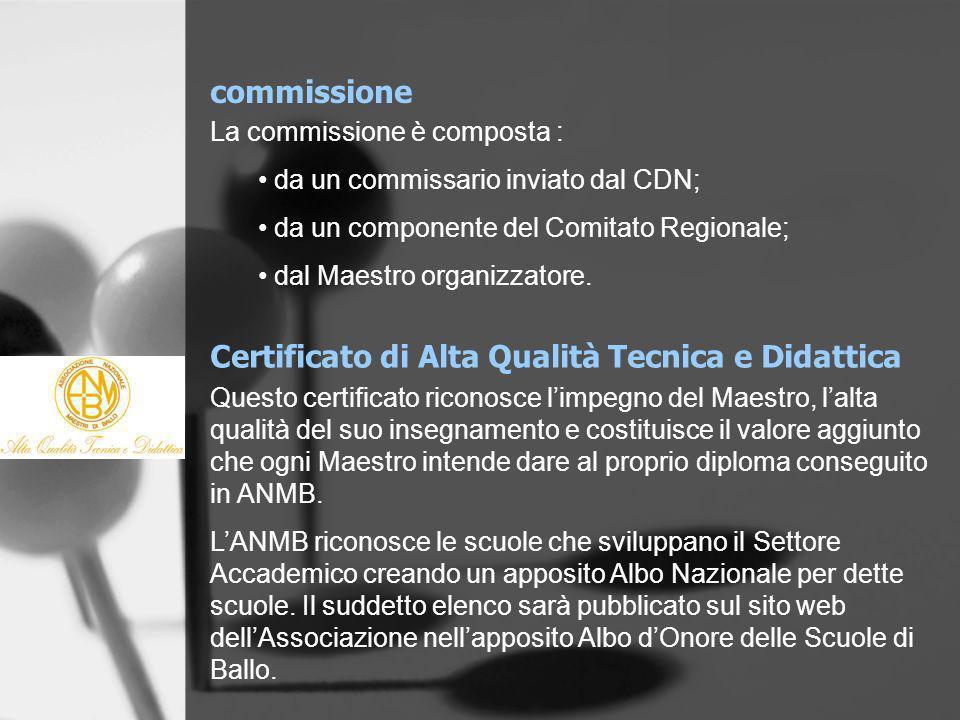 commissione La commissione è composta : da un commissario inviato dal CDN; da un componente del Comitato Regionale; dal Maestro organizzatore. Certifi