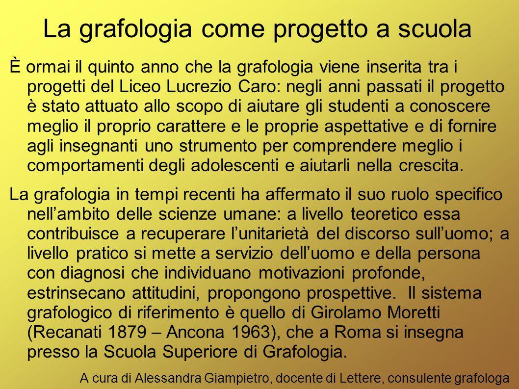 La grafologia come progetto a scuola È ormai il quinto anno che la grafologia viene inserita tra i progetti del Liceo Lucrezio Caro: negli anni passat