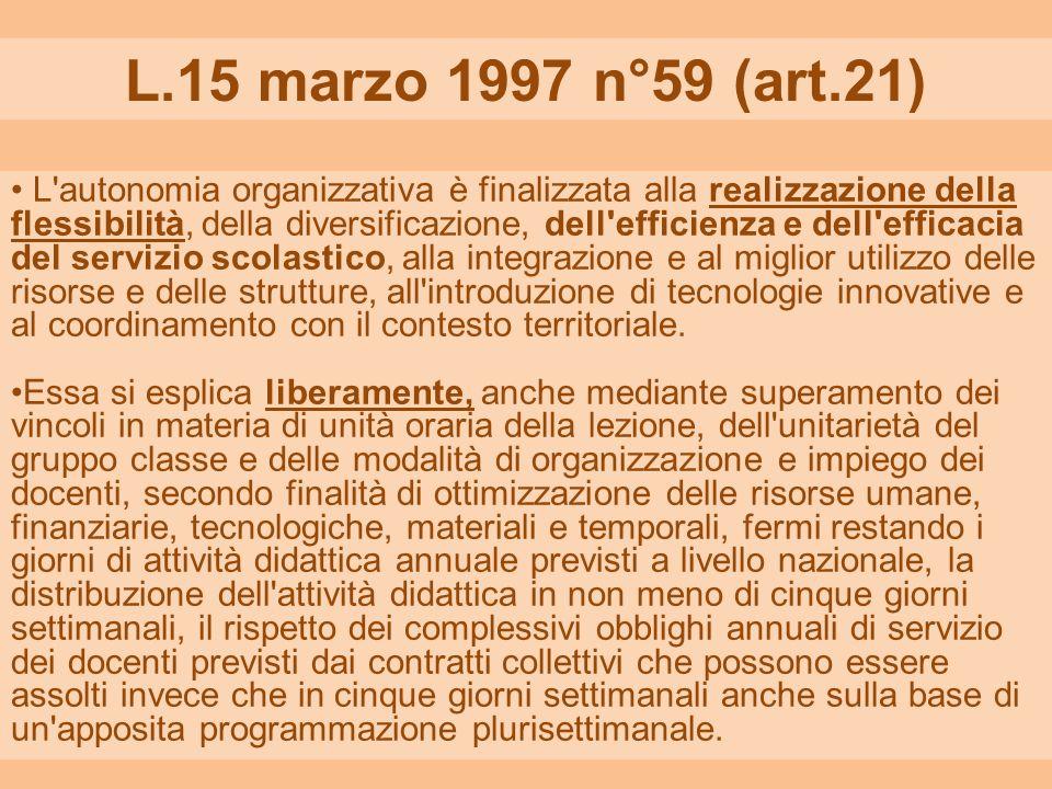 L.15 marzo 1997 n°59 (art.21) L'autonomia organizzativa è finalizzata alla realizzazione della flessibilità, della diversificazione, dell'efficienza e