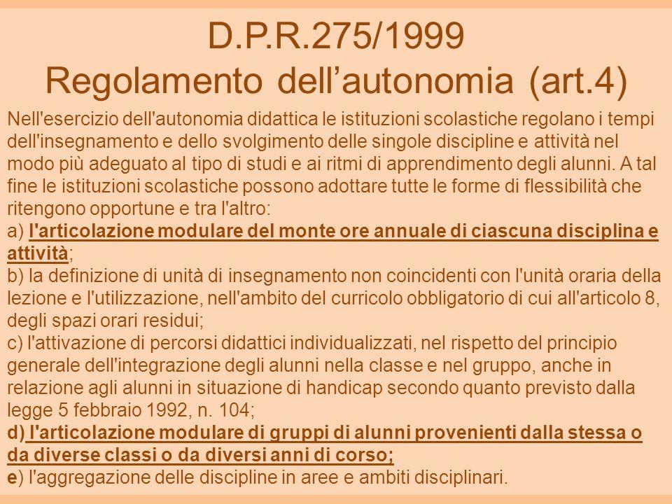 D.P.R.275/1999 Regolamento dellautonomia (art.4) Nell'esercizio dell'autonomia didattica le istituzioni scolastiche regolano i tempi dell'insegnamento