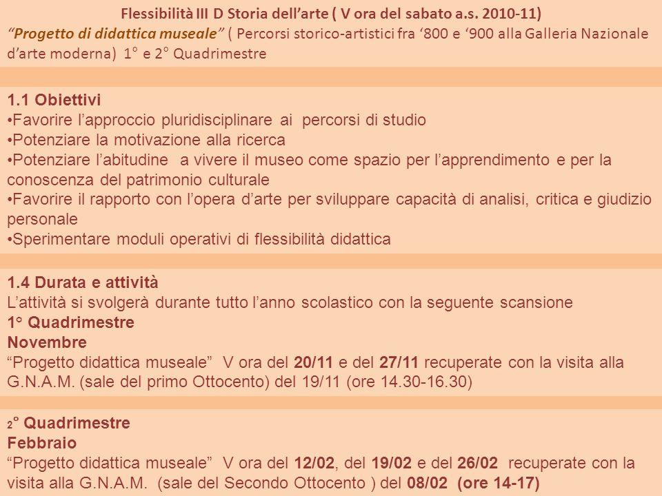 Flessibilità III D Storia dellarte ( V ora del sabato a.s. 2010-11) Progetto di didattica museale ( Percorsi storico-artistici fra 800 e 900 alla Gall