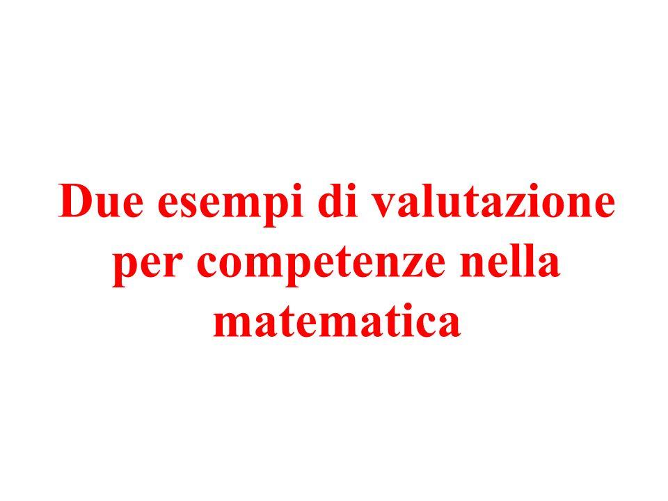 Due esempi di valutazione per competenze nella matematica