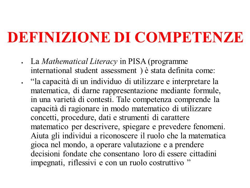 La Mathematical Literacy in PISA (programme international student assessment ) è stata definita come: la capacità di un individuo di utilizzare e interpretare la matematica, di darne rappresentazione mediante formule, in una varietà di contesti.